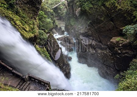Waterfall Pailon Del Diablo (devil's Cauldron) In The Andes Mountain Rainforest. Banos. Ecuador