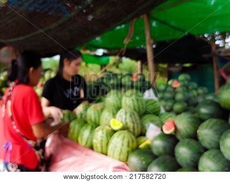 Blurry Of Woman Is Shopping Watermelon Fruit