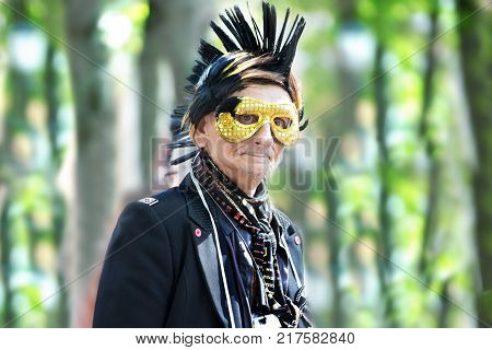 Belarus Gomel September 16 2017. Celebrating the city day.Portrait of an old punk masked man.Old punk