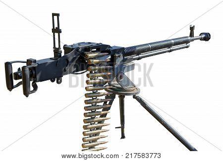 DShK 1938 Soviet heavy machine gun firing the 12.7x108mm cartridge on white background