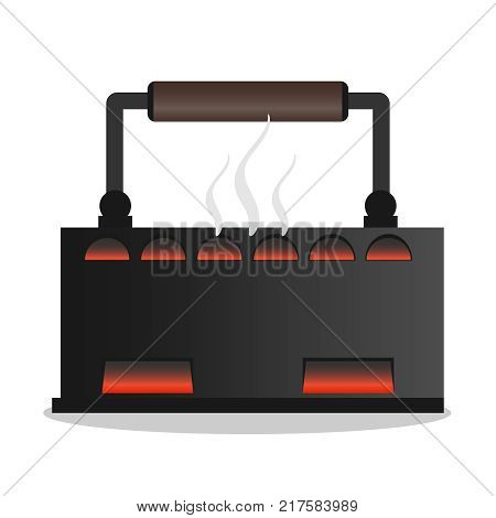 Old iron on coals with smoke. Retro iron icon. Flat design vector illustration vector.