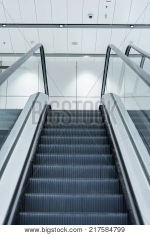 Empty Escalator In Modern Building . Way to up