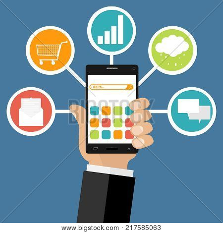 Hand keep mobile with icons of marketing. The concept of Internet connection. Flat design, vector illustration, vector.