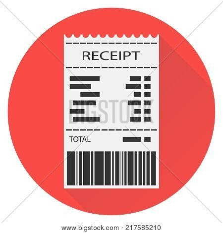 Receipt, white receipt with barcode on red background with shadow. Flat design, vector illustration, vector. poster