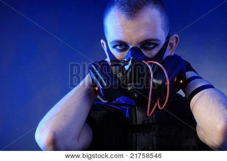 Shot of a conceptual man in a respirator.