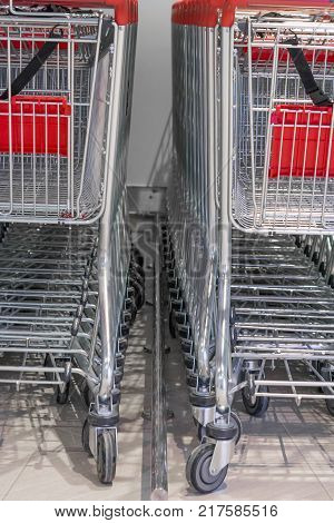 a number of shopping carts as a background