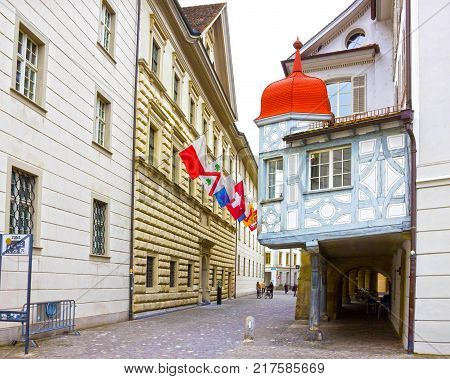 Lucerne, Switzerlandi - May 02, 2017: The people going at old town Lucerne, Switzerland on May 02, 2017