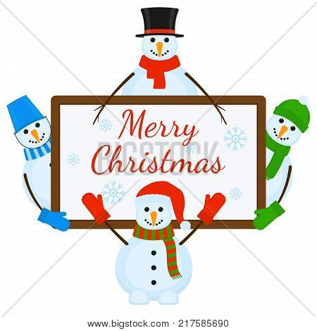 Vector illustration of snowmen with signboard isolated on white background. Merry Christmas greeting card.