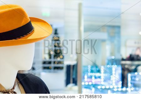 Dummy profile on blurred abstract Store background .