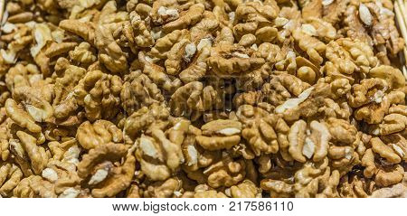 Shelled walnuts on a counter  on market