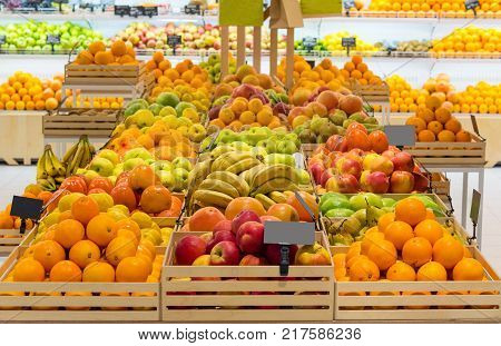 attractive fruit stall with price tags on market