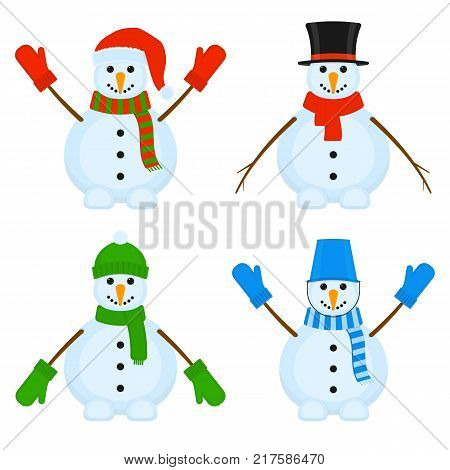 Vector illustration of smiling snowmen isolated on white background. Cute Christmas characters.