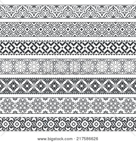 Vector set of monochrome dividers.Borders for the text invitation cards various printing editions. Seamless horizontal patterns. Ethnic elements of design.