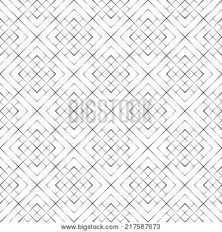 Vector seamless pattern. Modern halftone texture. Regularly repeating linear grids from rhombuses with decreasing contour thickness. Geometric illustration for your design. Thin line.