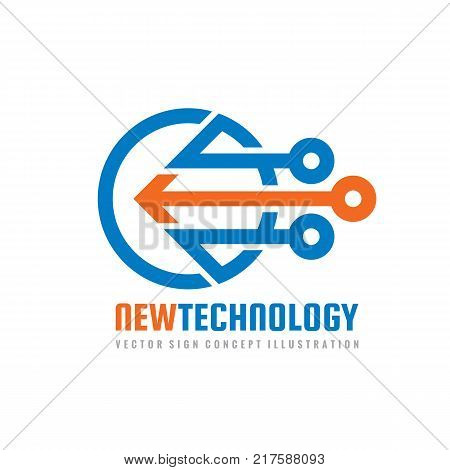 New technology - vector logo template for corporate identity. Abstract chip sign. Network, internet tech concept illustration. Arrow design element.
