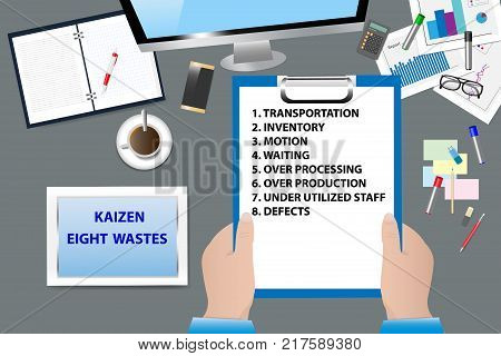 Top view of the office desk with office supplies. Hands are holding a paper with Kaizen Eihgt Wastes text. All potential trademarks are removed.
