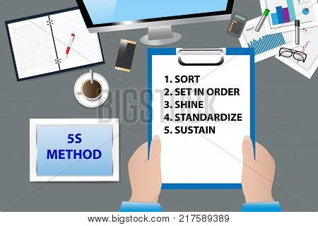 Top view of the office desk with office supplies. Hands are holding a paper with 5S Kaizen Method text. All potential trademarks are removed.