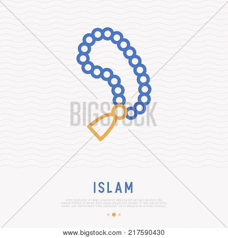 Rosary beads thin line icon. Modern vector illustration.