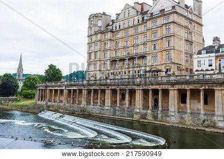 River Avon, Bath, England, with Georgian riverside architecture
