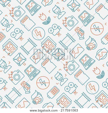 Photography seamless pattern with thin line icons of photographer, film, crop, flash, focus, light, panorama. Vector illustration.