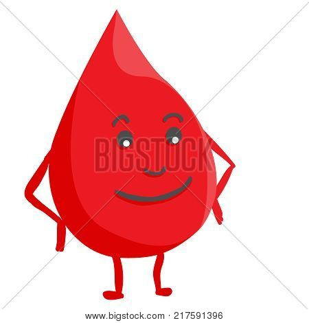 Donate drop blood logo. Donor concept blood icon. Funny donation character isolated from background. Red mascot.