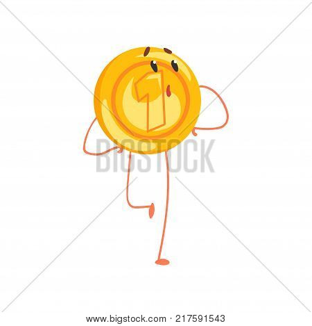 Shiny golden coin character with surprised face expression. Cartoon penny character in flat style. One cent icon. Vector illustration isolated on white. Graphic design for sticker, card or poster.