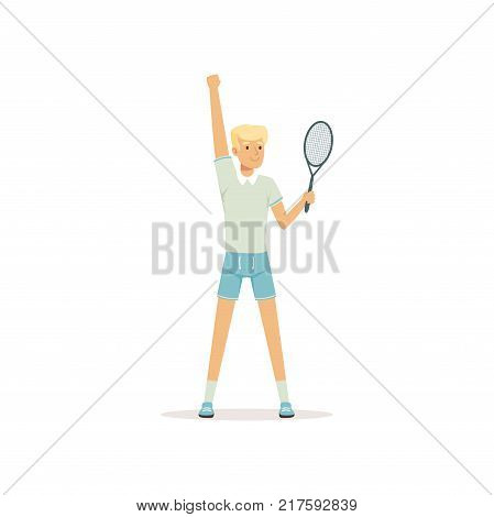 Young tennis player standing with racket in hand isolated on white. Cartoon man character taking part in tournament. Summer sport concept. Flat design vector illustration for poster or banner.