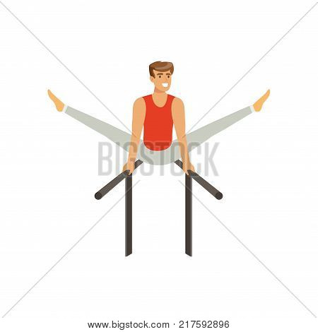 Professional male gymnast training on parallel bars. Cheerful strong man character in sportswear. sport or artistic gymnastics concept. Cartoon flat vector illustration isolated on white.