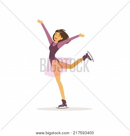 Cartoon young girl skating on skates. Professional figure skater in elegant costume with skirt. Cheerful woman character in action. Flat vector illustration isolated on white.