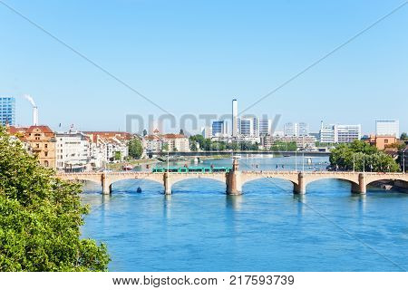 Scenic view of the Rhine river with Middle bridge, Mittlere Bracke, in the foreground, Switzerland
