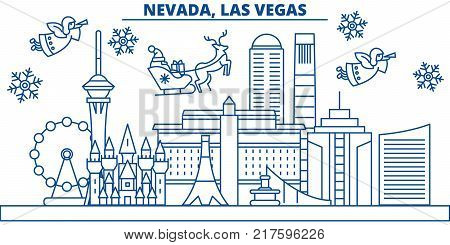 USA, Nevada , Las Vegas  winter city skyline. Merry Christmas and Happy New Year decorated banner. Winter greeting card with snow and Santa Claus. Flat, line vector, linear christmas illustration