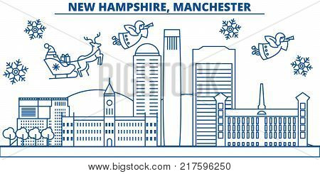 USA, New Hampshire , Manchester  winter city skyline. Merry Christmas and Happy New Year decorated banner. Winter greeting card with snow and Santa Claus. Flat, line vector, linear christmas illustration