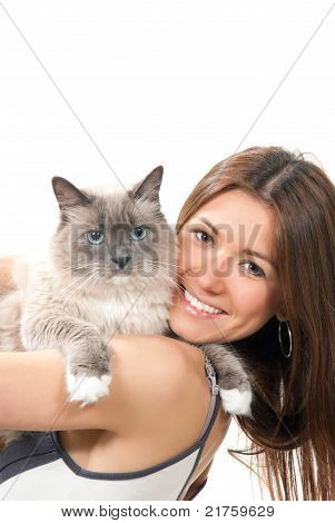 Young Pretty Woman Hold Her Lovely Ragdoll Cat With Blue Eye