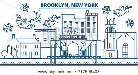 USA, New York, Brooklyn  winter city skyline. Merry Christmas and Happy New Year decorated banner. Winter greeting card with snow and Santa Claus. Flat, line vector, linear christmas illustration