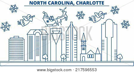 USA, North Carolina , Charlotte  winter city skyline. Merry Christmas and Happy New Year decorated banner. Winter greeting card with snow and Santa Claus. Flat, line vector, linear christmas illustration