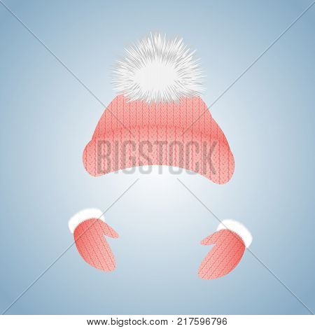 Knitted hat with pompon and gloves with fur