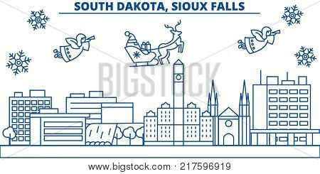 USA, South Dakota , Sioux Falls  winter city skyline. Merry Christmas and Happy New Year decorated banner. Winter greeting card with snow and Santa Claus. Flat, line vector, linear christmas illustration