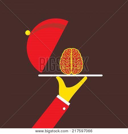 businessmen serving idea on plate or genius brain