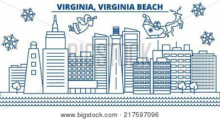 USA, Virginia , Virginia Beach  winter city skyline. Merry Christmas and Happy New Year decorated banner. Winter greeting card with snow and Santa Claus. Flat, line vector, linear christmas illustration