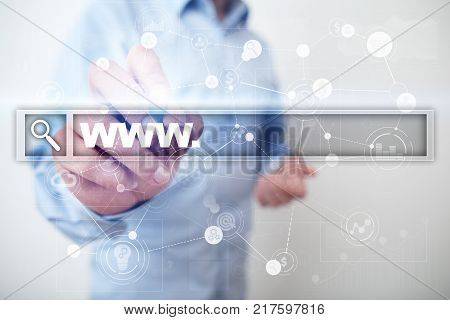 Search bar with www text. Web site, URL. Digital marketing. Business, internet and technology concept