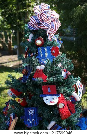 Patriotic Christmas Tree In Fort Myers, Florida, Usa