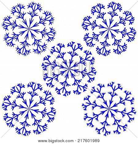 Snowflake sign set. Winter design. Image of snow season. Blue ice icons isolated on white background. Cold ornament symbol. Logo for christmas or frozen celebration. Stock vector illustration