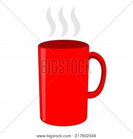 Red tea cup sign. Image of breakfast element. Beautiful color icon isolated on white background. Hot beverage symbol. Logo for cafe or restaurant menu. Takeaway label. Stock vector illustration