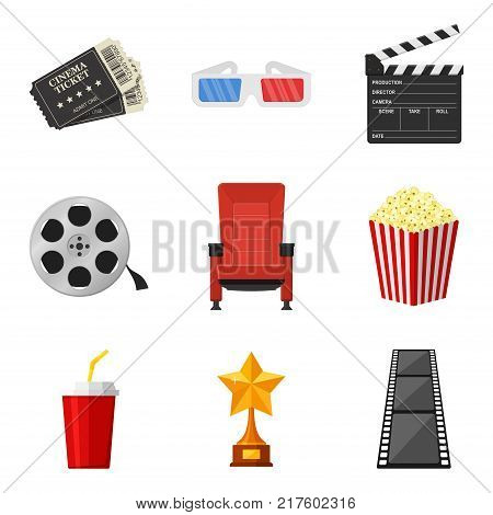 Cinema icons set in flat style on white background. To rent and watch movie in the cinema decorative elements. Accessories cinemas. Movie and film concept. Vector Illustration