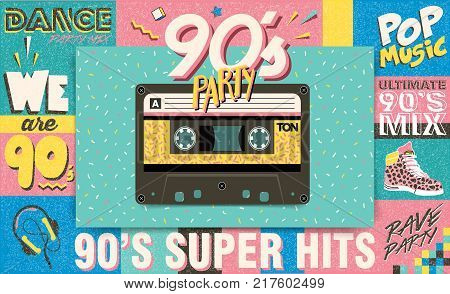 90's music mix. Trendy. Retro style design club. 90's party, 90s fashion, 90s background, 90's and 80's graphic, 90s style, pop music party 1990, vintage night. Easy editable Memphis poster design.