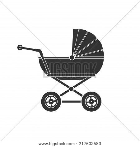 Baby stroller icon isolated on white background. Children pram, baby carriage icon vector illustration