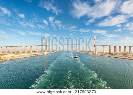 El Qantara Egypt - November 5 2017: The Mubarak Peace Bridge also known as the Al Salam Bridge or Al Salam Peace Bridge is a road bridge crossing the Suez Canal at El-Qantara.