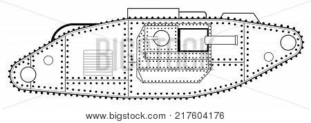 An early World War One tank line drawing over a white background