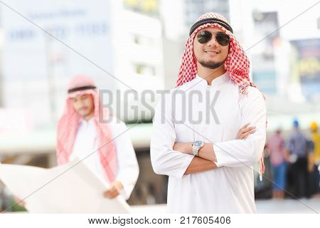 Portrait Arab business man working in the city