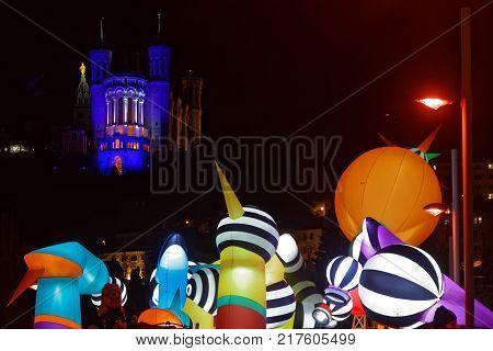 Lyon, France, December 8, 2017 : Festival Of The Lights In Lyon. For 4 Nights, Different Artists Lig